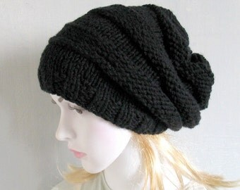 Women Hat Slouchy Hat Slouchy Beanie Slouchy Beanie Slouch Hats cabled hat womens accessory Grey Hand Made Knit Women Knit Hat
