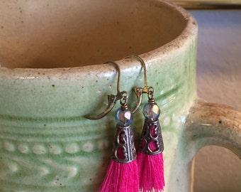 Pink Tassel Earrings - Boho Morocco
