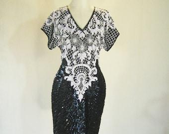 Stenay Black & White Art Deco Cocktail Evening Dress