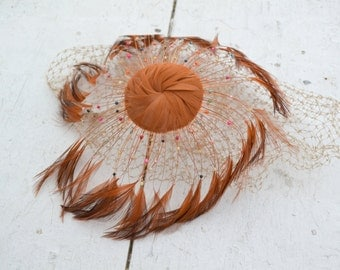 1950s Brown Feather Fascinator with Netting