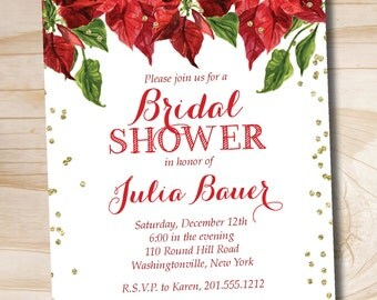 Christmas watercolor Poinsettia glitter confetti Bridal Shower Baby Shower - Printable digital file or printed invitations