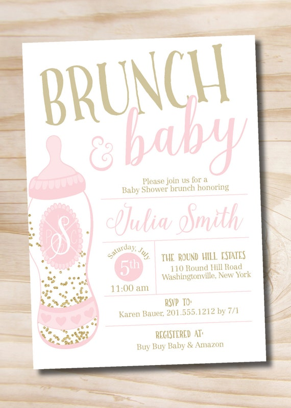 Brunch and baby shower invitation confetti glitter baby bottle il570xn filmwisefo