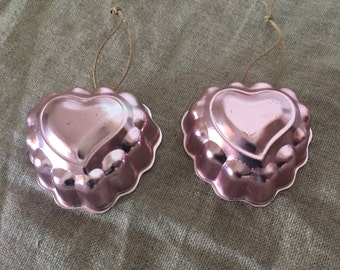 Two heart shape VINTAGE anodised aluminium pink jelly mould's . Vintage kitchen.