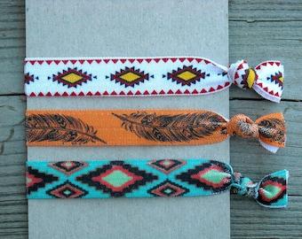 Southwestern Elastic Hair Ties Hair Elastics Hair Rubber Bands Feather Tribal Aztec Print Native American Indian Boho Orange Turquoise Blue