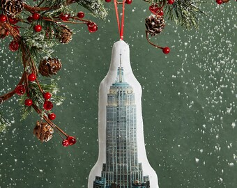 Empire State Building Ornament - Mini Stuffed Pillow - Holiday Decoration - NYC Souvenir - Hanging Cushion