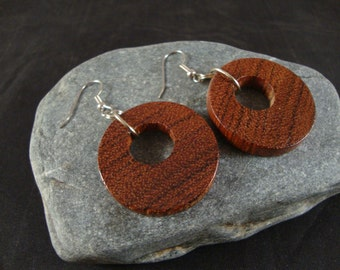 Round Wooden Dangle Earrings -  Red Heart Wood - natural eco friendly jewelry