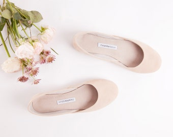Beige Ballet Flats   Summer Shoes   Women's Slip Ons   Ballerina Pumps   High Fashion Handmade Ballet Flats   Beige Nubuck...Made to Order