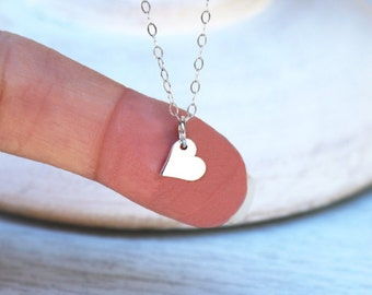 Heart Necklace, Sterling Silver Heart Necklace, Heart Charm Necklace, Heart Pendant Necklace, Tiny Heart Necklace, Silver Heart Necklace