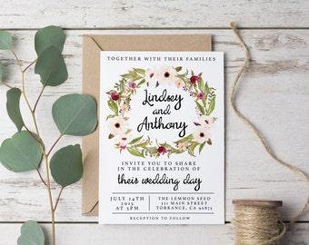 Wedding Invitation Template Rustic Bohemian Floral Printable - Watercolor, Vintage, Maroon, Ecru Fall Winter Spring Flower Modern DIY (1099)