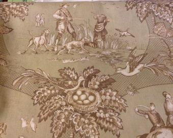 5 Plus Yards Cotton Toile Yardage Green & Tan Fabric Stroheim and Romann