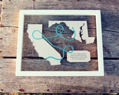 BEACH LOVE Map Gift 11x14 Framed Art Hand Cut & Painted ~ Farewell, Moving, Wedding, Birthday, Anniversary, Farewell, Father's Day