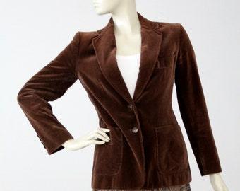 1970s velvet blazer by Evan Picone, vintage brown jacket, women's sport coat