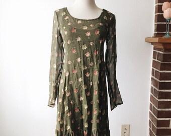 Vintage 90s Floral Print Betsey Johnson Dress // Small Medium