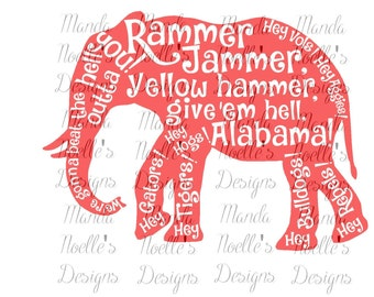 Rammer Jammer, Give 'em Alabama SVG or Silhouette Instant Download