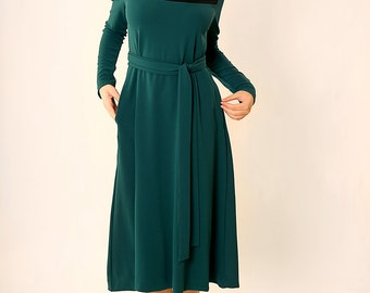 Elegant midi dress,Holiday dress,Party dress,Formal dress,Mid length dress,Tea length dress,Midi dress,Modest dress,Long sleeves