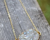 Angel Aura Druzy . Gold Dipped . Necklace