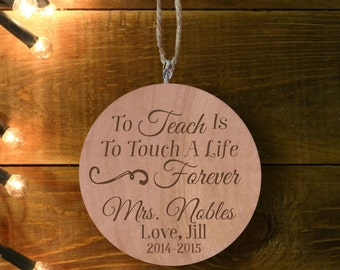 Personalized Teacher Ornament, Personalized Ornament, Engraved Wooden Gift Tag, Engraved Wooden Christmas Ornament, Wood Ornament