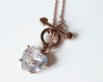 Crystal Heart Necklace Rose Gold Tone Chain with Crystal Heart Toggle Pendant Mom Gift