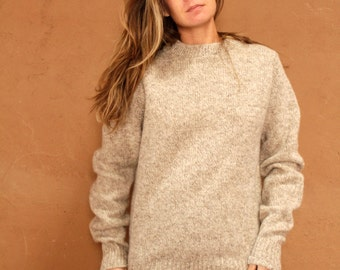 90s OXFORD wool cream CREW neck sweater