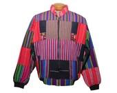 Guatemalan Patchwork Jacket Rainbow Multi-Colored Colorful Zip Up Jacket Size XL
