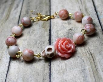 Original Day of the Dead Rhodochrosite Pink Rose Jewelry Sugar Skull Bracelet