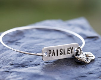 Cat Name Bangle, Cat Charm Bangle, Custom Cat Name Tag Silver Bracelet, Silver Filled Cat Bangle, Personalized Cat Name Bangle, Stamped