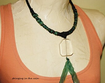 Tribal Choker Necklace,large clear glass focal, with luminescent blue-green fabric ribbon No. M