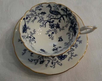 "Coalport Tea Cup and Saucer; ""Cairo"" Pattern; Blue/White Colors  circa 1949-1959   DR"