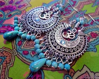 "Turquoise Magnesite Gemstone Om Symbol Chandelier Earrings, Hindu Silver Aum Spiritual Jewelry, 3"" Hippie Moons, Bronze, Gold Clip-On Option"