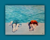 Original Oil BOTTOMS-UP, Original Oil Painting, Ocean, swimming, play, summer fun, kids, signed by the artist