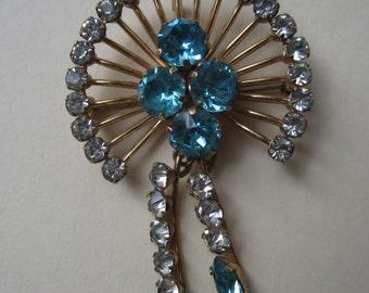 Vintage Van Dell Blue Rhinestone Brooch Pin