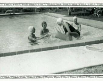 "Vintage Photo ""Floatie Troubles"" Girl Swimming Pool Snapshot Photo Antique Old Black & White Photograph Found Paper Ephemera Vernacular - 38"