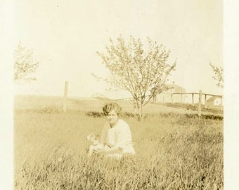 "Vintage Photo ""Puppy Prairie"" Snapshot Photo Old Antique Photo Black & White Photograph Found Photo Paper Ephemera Vernacular - 100"