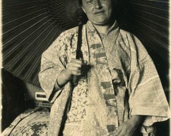 "Vintage Photo ""Her Year in Japan"" Asian Umbrella Snapshot Photo Old Antique Photo Black & White Photograph Found Photo Paper Ephemera - 35"