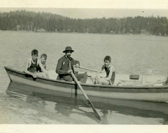 "Vintage Photo ""Swim Coach"" Boat Children Bathing Suit Snapshot Old Photo Black & White Photograph Found Paper Ephemera Vernacular - 168"
