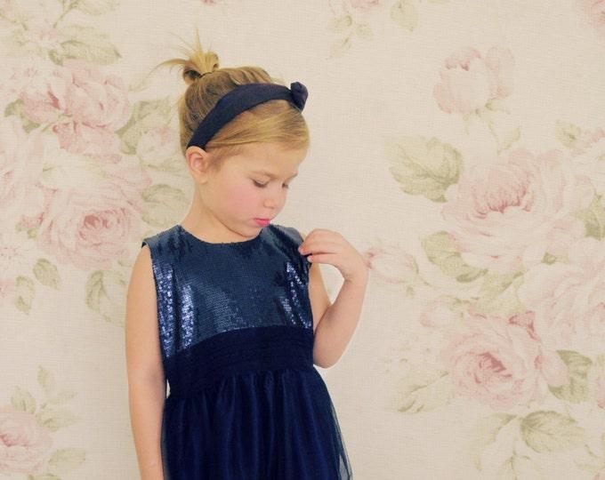 Luxury Italian Design Party Dress, Little girl Blue Paillettes Party Dress, Navy Blue Tulle dress for Party Girls, Toddler Elegant dresses