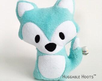 Stuffed Fox (Aqua) - Plush Fox - Fox Toy - Stuffed Animal - Kawaii Plush - Woodland Fox - Nursery Decor - Newborn Gift - Baby Shower Decor