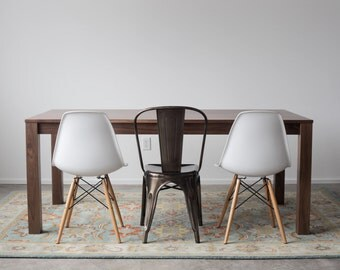 Solid Walnut Parsons Dining Table - Customizable with Leaves