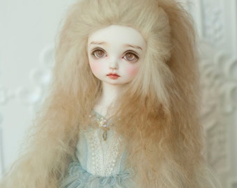 "10in"" Long Beige Gradient Tibetan Mohair Wavy Wig for Volks BJD SD and Pullip Dolls"