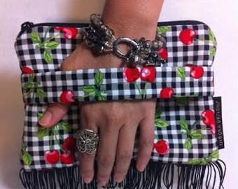 Cherry Purse, Cherry Bag, Cherry Clutch, Cherry Fringe Wristlet, Cherry Handbag, Cherry Evening Bag, Retro , Rockabilly Purse, Retro Handbag