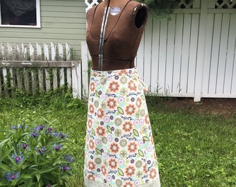 "Handmade Wrap Skirt ""In My Garden"" vintage style, festival fashion, hippie, boho, flowers, lace, floral corton print, OOAK"