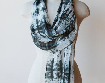 black and ivory silk chiffon scarf, screen printed scarves by 88editions