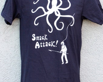 Snack Attack! Mens , Octopus and Diver Nautical original artwork screen printed by hand on  American Apparel Navy Tee