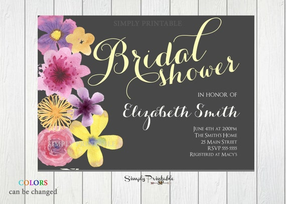 Floral Shower Invite, Wedding Shower, Watercolor Flower Invitation, Bridal Shower Invitation