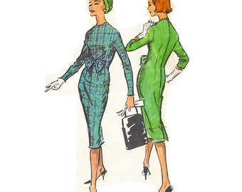 1950s Sheath Dress Pattern, Long Sleeve Sheath Dress Pattern, Back Pleat Dress, Bust 32 Size 12, McCalls 4626, Vintage Sewing Pattern
