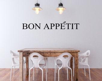 Kitchen Wall Decal Bon Appetit Decal Kitchen Vinyl Lettering Kitchen Wall Quote Kitchen Wall Decor
