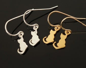 Cat Earrings Dangle Drop Sterling Silver Gold Sitting Cat tiny cat kitten charm earrings cat gift gold christmas gifts