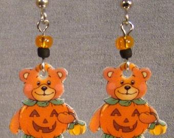 Teddy Jackolantern Bear Dangle Earrings - Halloween Earrings - Surgical steel
