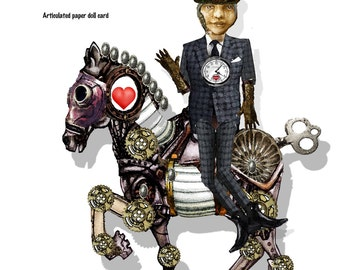 Printable Steampunk whimsical time traveler with Horse DIY doll puppet prop