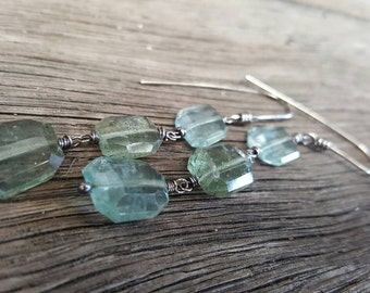 Moss aquamarine drop earrings oxidized sterling silver, aquamarine dangle earrings, faceted gem earrings, seafoam green earrings,